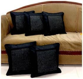 Essensa Furnishings Plain Jute Square Shape Black Cushion Cover ( Regular , Pack of 5 )