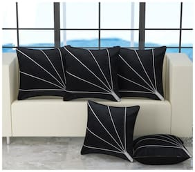 Essensa Furnishings Striped Velvet Square Shape Black Cushion Cover ( Large , Pack of 5 )