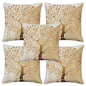 Essensa Furnishings Embroidered Velvet Square Shape Cream Cushion Cover ( Regular , Pack of 5 )