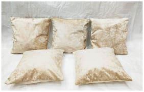 Essensa Furnishings Solid Velvet Square Shape Cream Cushion Cover ( Large , Pack of 5 )
