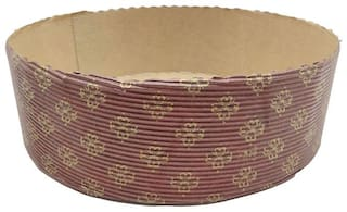 Esslly 750 g Disposable Paper Cake Mould Pan - Brown with Gold Floret | Free-Standing | Set of 10