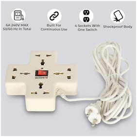 ESYSTEMS E-005 Three Pin White Extension Board ( 3.6 m , 4 Socket , 1 Switches)