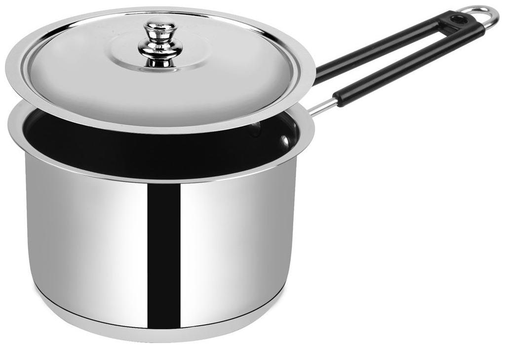 Ethical Divineart Stainless Steel Encapsulated Bottom Non Stick Sauce Pan with SS Lid Diameter 1.3 L / 16 cm