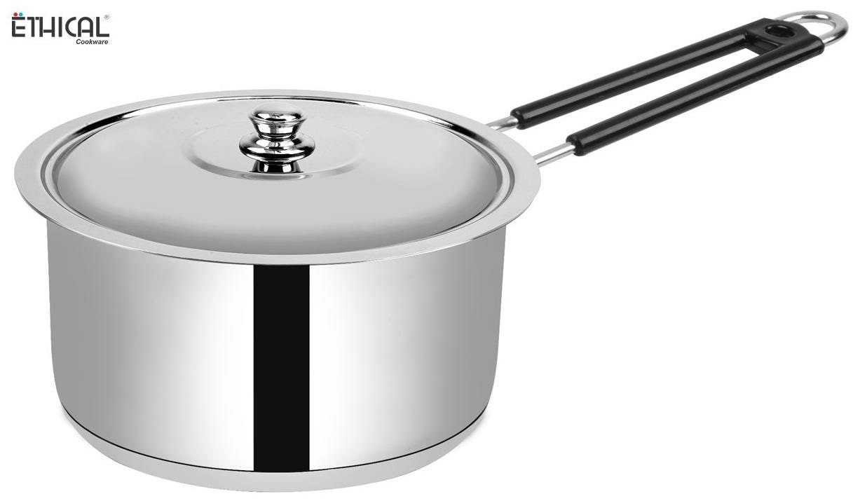 Ethical Fineart Stainless Steel Encapsulated Bottom Sauce Pan with SS Lid Diameter 2.7 L / 21 cm  Stainless Steel Induction Bottom