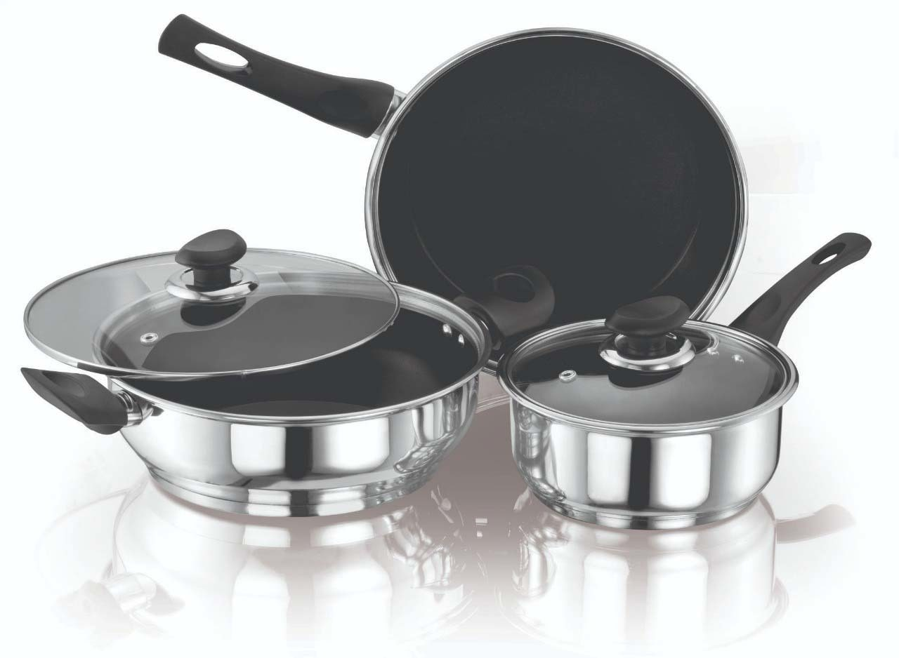 ETHICAL Kitchenart Stainless Steel Encapsulated Bottom 5pcs Cookware Set Black Fry Pan stick;Induction Bottom  by Ethical