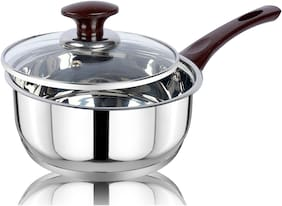 Ethical Kitchenart Stainless Steel Mirror Finish Choco Handle Encapsulated Bottom Sauce Pan With Glass Lid 18Cm Diameter