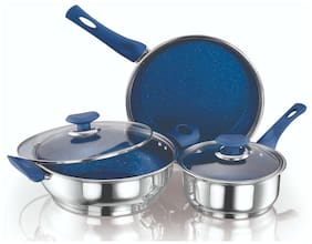 Ethical Kitchenart Stainless Steel Encapsulated Bottom 5Pc Set (Fry Pan 2.0 L + Kadai 2.9 L + Sauce Pan 1.6 L + 2Pc Glass Lid)