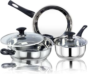 Ethical Kitchenart Stainless Steel Encapsulated Bottom 5Pcs Cookware Set Soft Touch Black Handle Mirror Finish Sauce Pan 18Cm,Fry Pan 26Cm & Kadhai 26Cm Diameter With Glass Lid