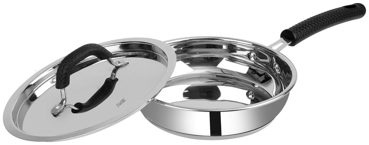 ETHICAL SHINEART Stainless Steel Encapsulated Bottom Fry Pan with SS Lid Diameter 2.0 L / 24 cm