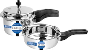 Ethical Tri-Nature 3Pcs Cooker Set Pressure Cooker 2Ltr & 3Ltr With 1Pcs Common Ss Lid Induction Bottom (Stainless Steel) Triply Sas (Steel-Aluminium-Steel - 3 Layers)