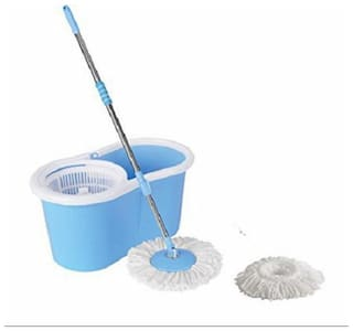 Evana Best Spin Mop & Bucket System, Deluxe 360 Degree Spin Self-wringing Floor Cleaning Easy Magic Mops & Spin Dry Bucket With 2 Micro Fiber Mop Head