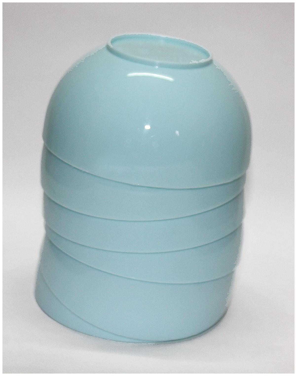 EVERBUY Plastic Round Shape Soup Bowls Set OF 6 BLUE