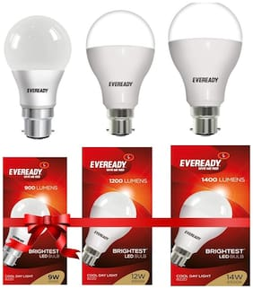 Eveready 7W,9W,12W-6500K Cool Day Light Pack of 3