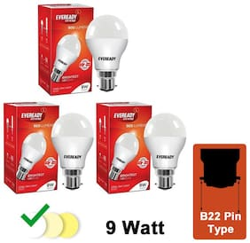 Eveready 9W-6500K Cool Day Light Pack of 3 Led Bulbs