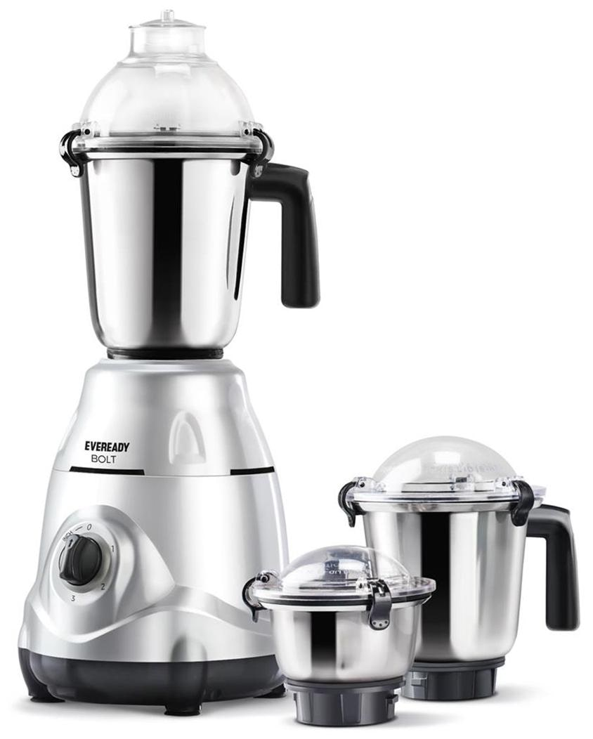 Eveready BOLT 750 W Mixer Grinder (White/3 Jars)