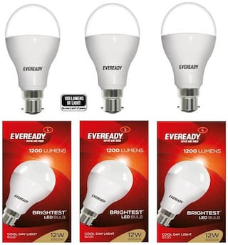 Eveready Cool Day Light LED Bulbs 12 W - Pack Of 3