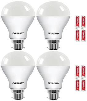 Eveready LED Bulb Combo 9W - 6500K Pack of 4 With Free Battery