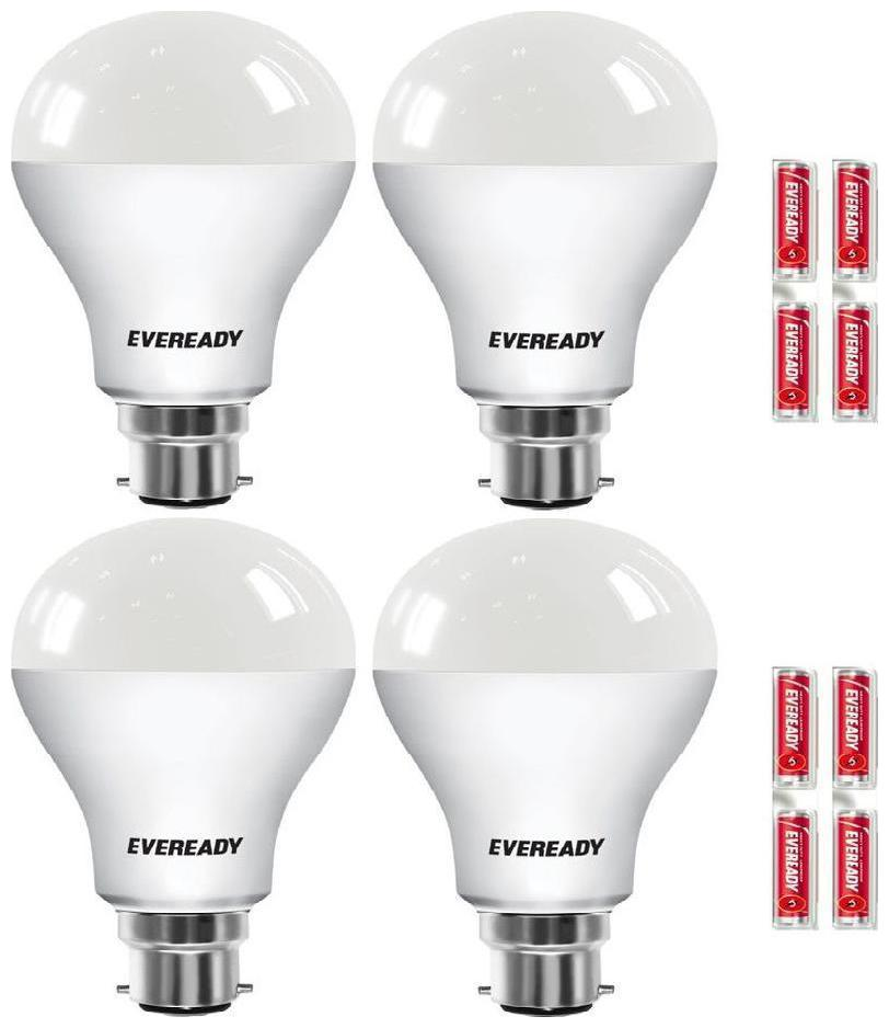 Eveready LED Bulb Combo 9W   6500K Pack of 4 With Free Battery
