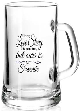 Every Love Story is beautiful but ours is My Favorite  Printed Juice /Milk/ Cold Drinkds &  Beer Glass Mug by Juvixbuy