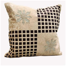 Good Vibes Solid Jacquard Square Shape Brown Cushion Cover ( Regular , Pack of 5 )