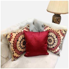 Good Vibes Embroidered Velvet Square Shape Beige Cushion Cover ( Regular , Pack of 3 )