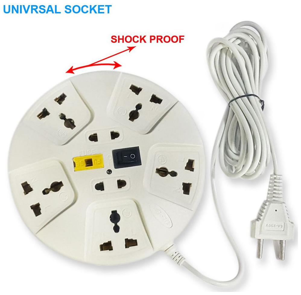 elove Multi Pin White Extension Board   3 m , 5 Socket , 1 Switches