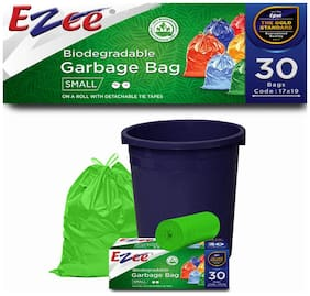 Ezee Bio-degradable Small Garbage Bags / Trash Bags / Dustbin Bags (17 X 19 inch) Pack of 5 ( 150 Pieces) 30 Pcs Each Pack