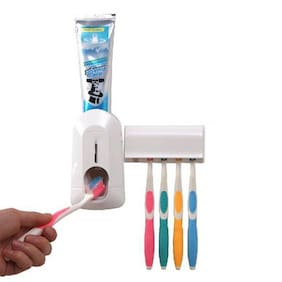 Ezzideals Toothpaste Dispenser And Toothbrush Holder