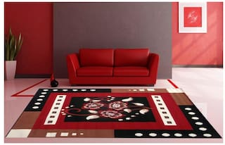 Firoz & Brothers Carpet for Living Room 5X7 Feet Black & Red Colour