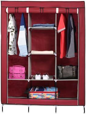 Fab Decorz 3 Door Fancy Portable Foldable Folding Closet Wardrobe Cabinet Portable Multipurpose Storage Organiser DIY (Random)
