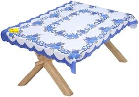 FAB NATION Premium Net floral Blue,Light Blue Center Table Cover