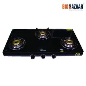 Fabiano (G-300) 3 Burner Glass Top Gas Stove (Black)
