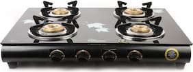 Fabiano 4 Burners Stainless Steel With Glass Top Gas Stove - Black