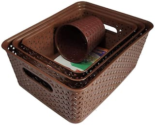 Fair Food Storage Basket(Set of 3) with Stationary Stand - (Set of 4 Storage Combo)