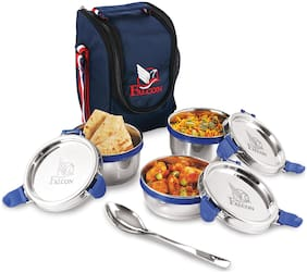 Falcon 3 Containers Stainless steel Lunch Box - Navy blue & Silver