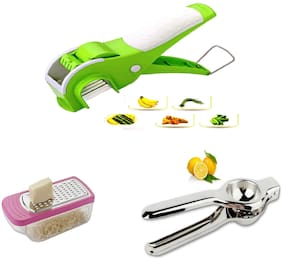 Famous Veg Cutter Mirchi Cutter Vegetable Cutter  with Free Lemon Squeezer & Cheese Grater Combo Pack (1  Veg Cutter & 1  Lemon Squeezer & 1 Cheese Grater) By DealDelivery