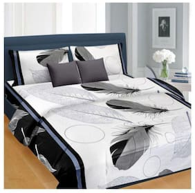 FARSH Microfibre 3D Printed Double Size Bedsheet 144 TC ( 1 Bedsheet With 2 Pillow Covers , Multi )