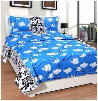 FARSH Microfiber 3D Printed Queen Size Bedsheet 204 TC ( 1 Bedsheet With 2 Pillow Covers , Blue )