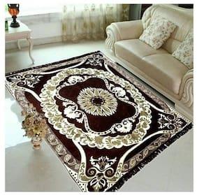 FARSH Brown Contemporary Chenille Carpet ( 5 feet x 7 feet)