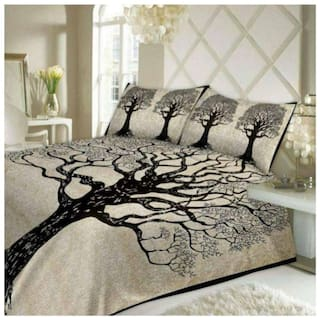 FARSH Cotton Abstract Double Size Bedsheet 210 TC ( 1 Bedsheet With 2 Pillow Covers , Off-white )