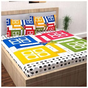 FARSH Cotton Kids Double Bedsheet ( 1 Bedsheet with 2 Pillow Covers , Off-White )