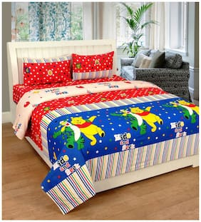FARSH Cotton Abstract Double Size Bedsheet 210 TC ( 1 Bedsheet With 2 Pillow Covers , Multi )
