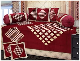 FARSH Chenille Geometric Single Size Diwan Sets - Pack of 8