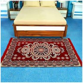 FARSH Maroon Contemporary Chenille Carpet ( 5 feet x 7 feet)