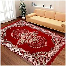 FARSH Red Contemporary Chenille Carpet ( 5 feet x 7 feet)
