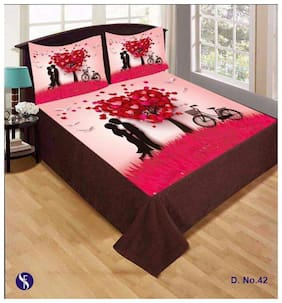 FARSH Velvet Abstract Double Size Bedsheet 210 TC ( 1 Bedsheet With 2 Pillow Covers , Multi )