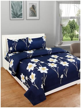 DREAM LIVING Microfiber Floral Double Size Bedsheet 125 TC ( 1 Bedsheet With 2 Pillow Covers , Blue )