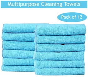 Fash Home International 12Pcs Microfibre Cleaning Cloth - 200 GSM (Blue, 33 cm x 33 cm)