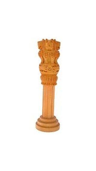Fashion Bizz Wooden Handicraft Ashoka Pillar - 12.7 cm (5 Inch) (H)