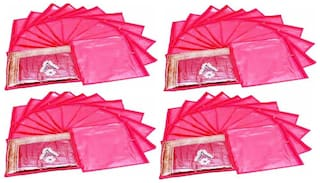 Fashion Bizz Pink Non Woven Saree Covers Bags Set of 48 pcs